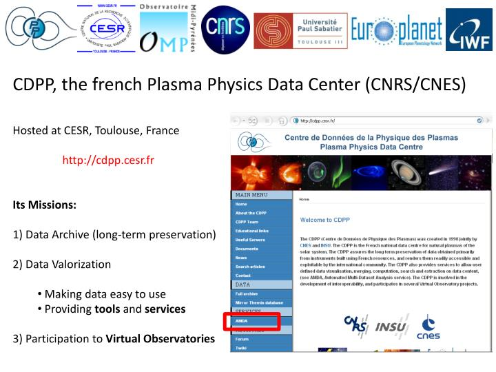 CDPP, the french Plasma Physics Data Center (CNRS/CNES)