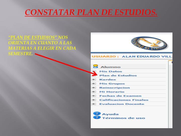 CONSTATAR PLAN DE ESTUDIOS.