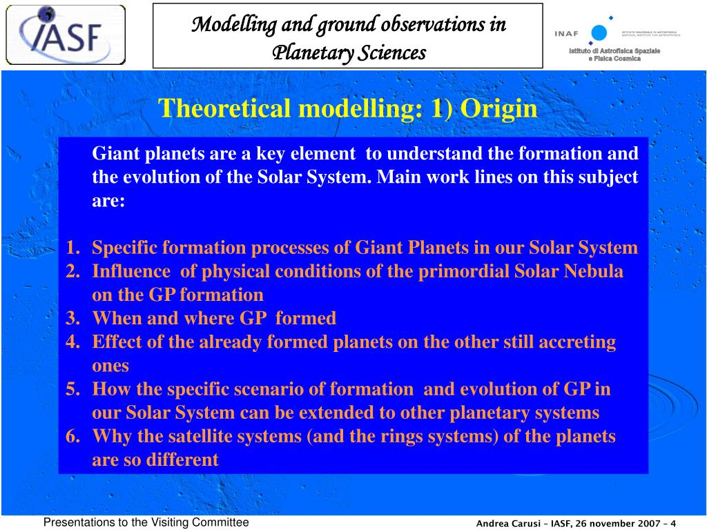 Theoretical modelling: 1) Origin
