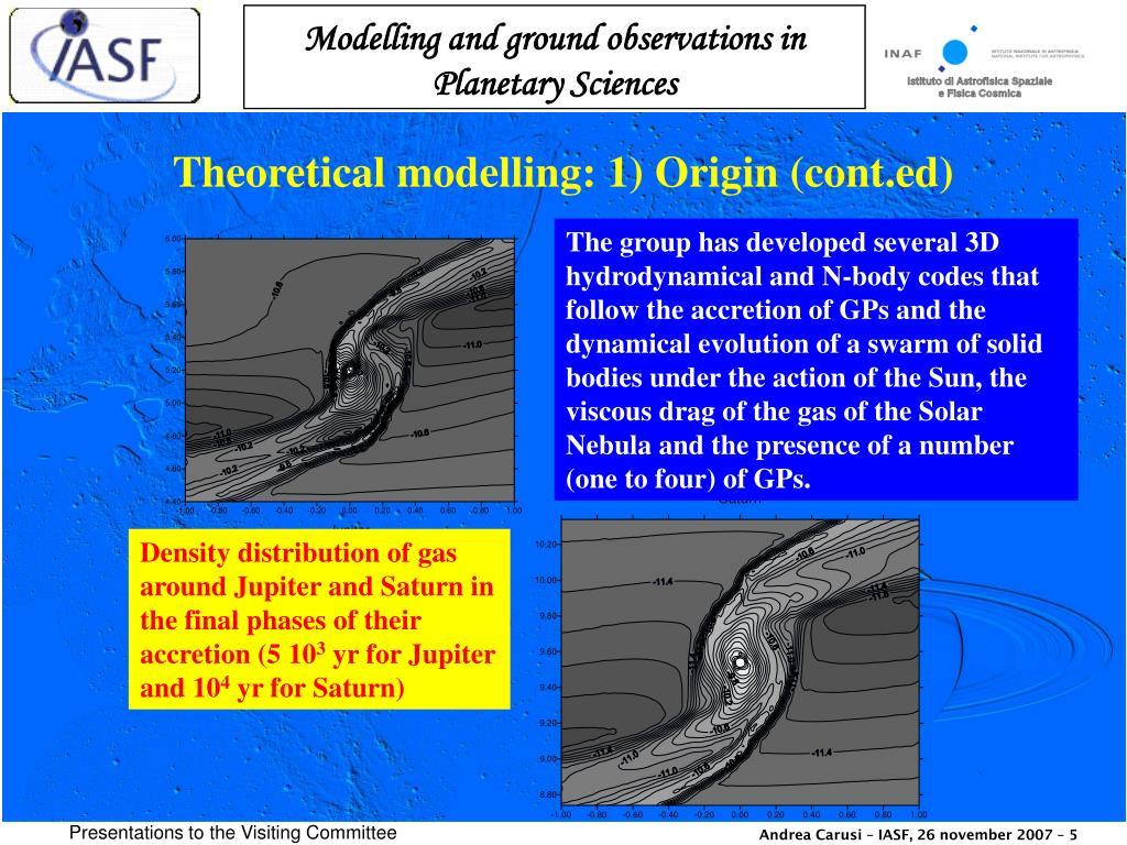 Theoretical modelling: 1) Origin (cont.ed)