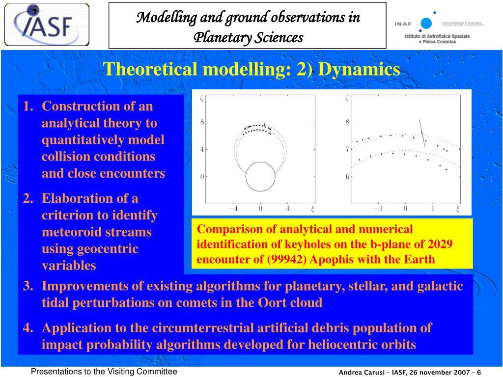 Theoretical modelling: 2) Dynamics