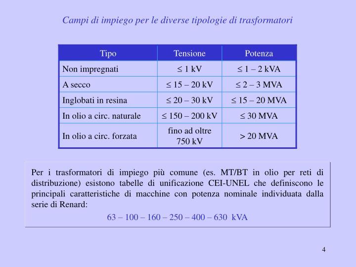 Campi di impiego per le diverse tipologie di trasformatori