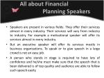 all about financial planning speakers
