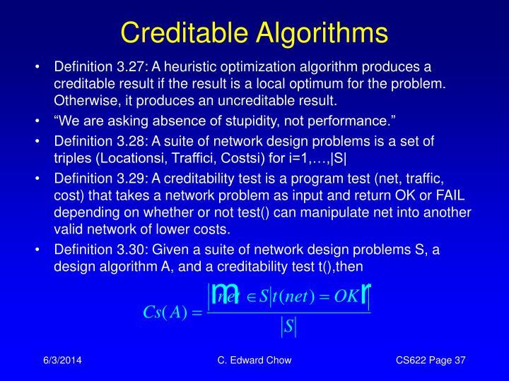 Creditable Algorithms