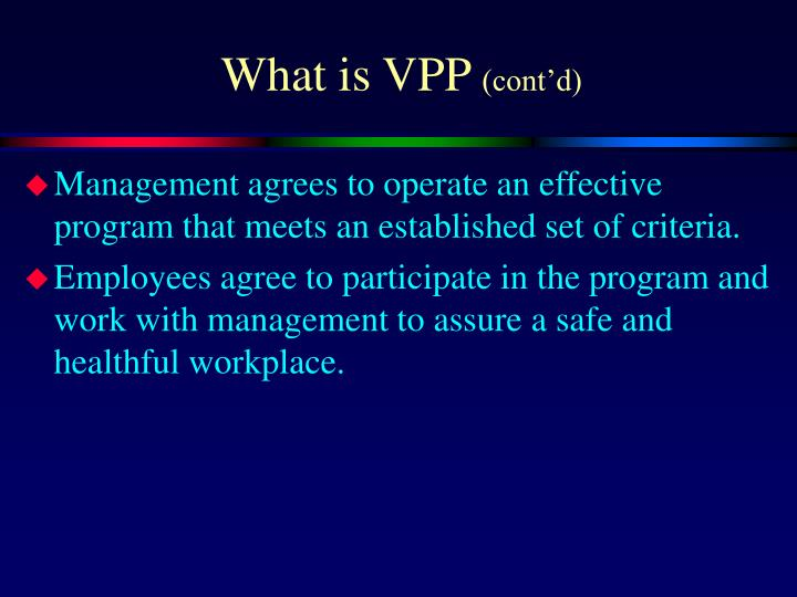 What is vpp cont d