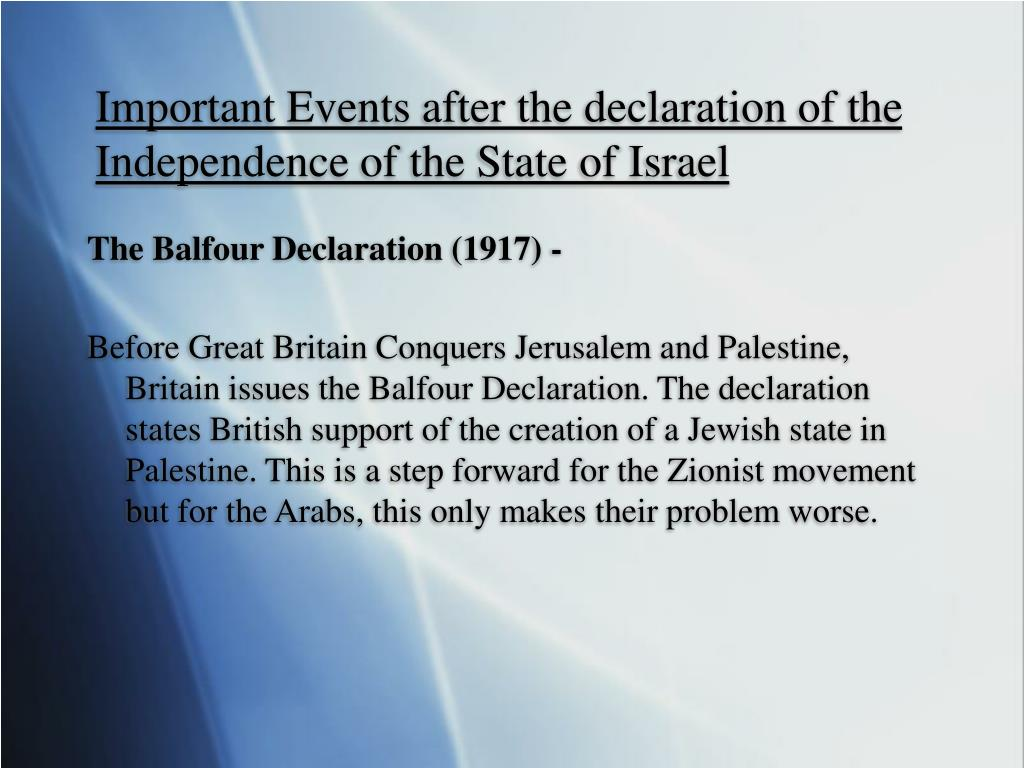 Important Events after the declaration of the Independence of the State of Israel