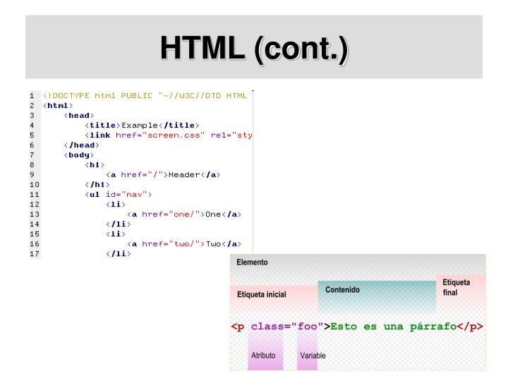 HTML (cont.)