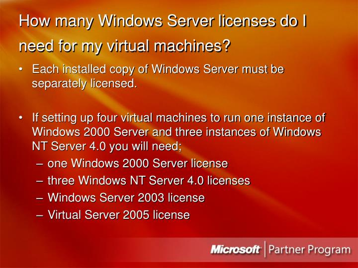 How many Windows Server licenses do I need for my virtual machines?