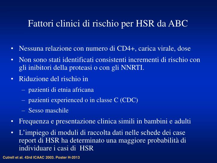 Fattori clinici di rischio per HSR da ABC