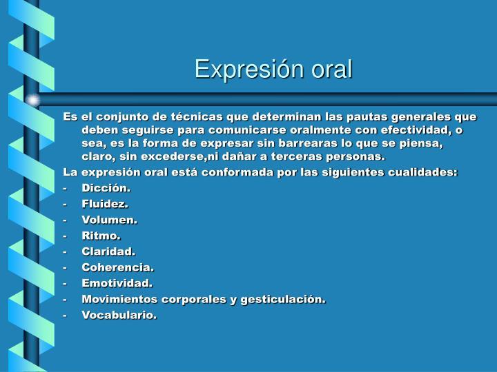 Expresi n oral