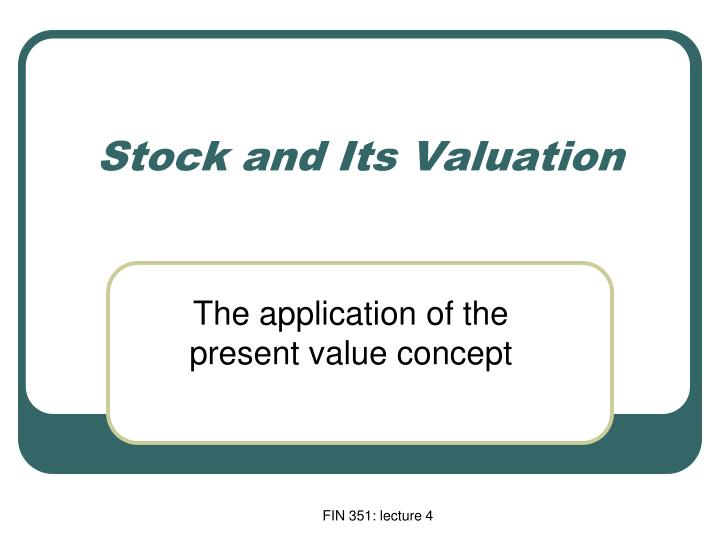 stock and its valuation n.