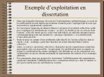 exemple d exploitation en dissertation
