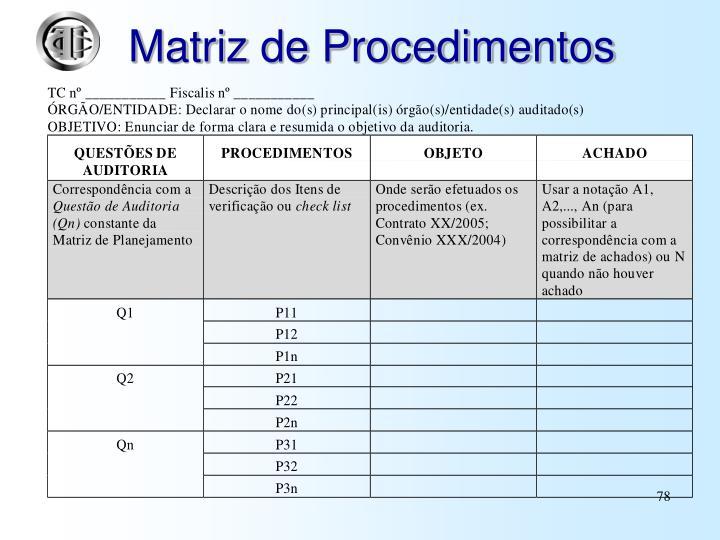 Matriz de Procedimentos