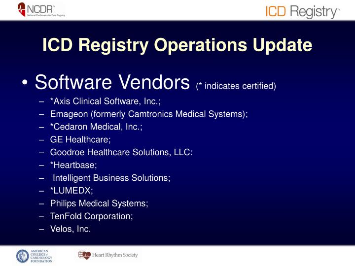 ICD Registry Operations Update