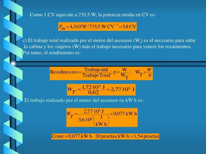 Como 1 CV equivale a 735,5 W, la potencia media en CV es: