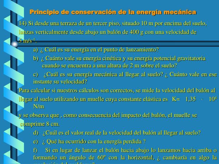 Principio de conservación de la energía mecánica
