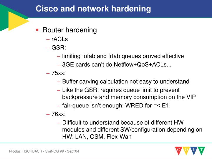 Cisco and network hardening
