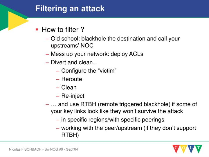 Filtering an attack