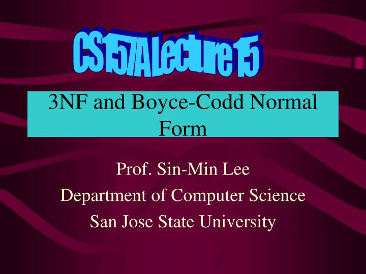 3nf and boyce codd normal form n.