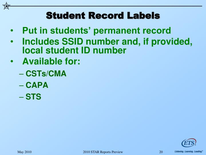 Student Record Labels