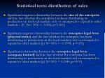 statistical tests distribution of sales