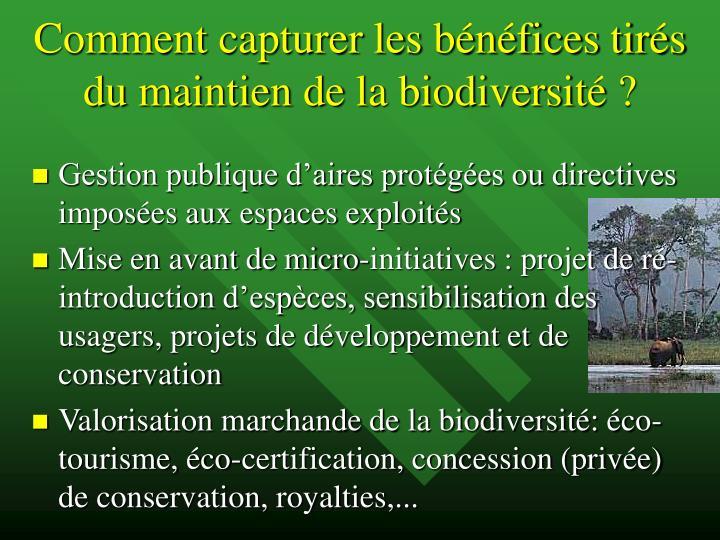 Comment capturer les bénéfices tirés du maintien de la biodiversité ?