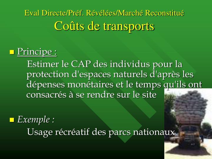 Eval Directe/Préf. Révélées/Marché Reconstitué