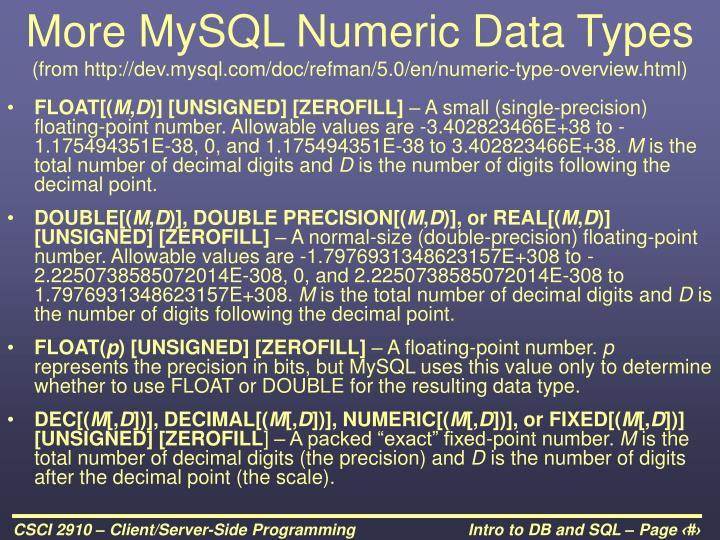 More MySQL Numeric Data Types