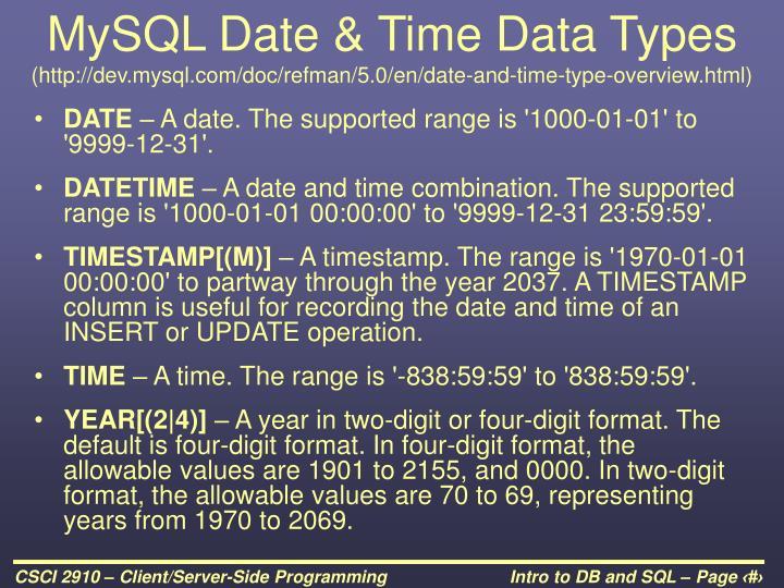 MySQL Date & Time Data Types