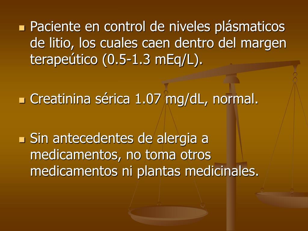 niveles de litio en sangre normales