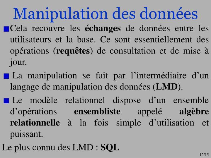 Manipulation des données