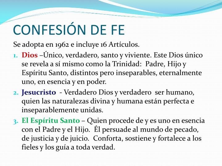 CONFESIÓN DE FE
