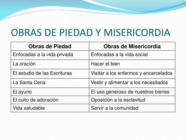 OBRAS DE PIEDAD Y MISERICORDIA