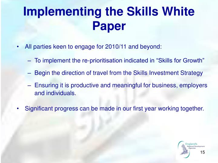 Implementing the Skills White Paper