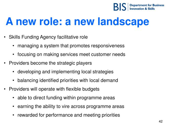 A new role: a new landscape