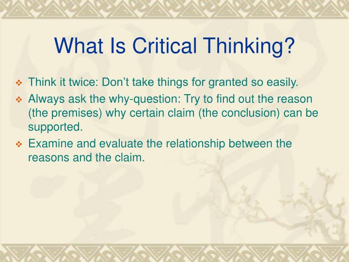 element of logic and critical thinking Critical and creative thinking learning continuum sub-element level 1 typically, by the end of  critical and creative thinking learning continuum sub-element level 1 typically, by the end of foundation year, students:  synthesising and evaluating reasoning and procedures element apply logic and reasoning identify the thinking used to.