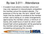 by law 3 011 attendance