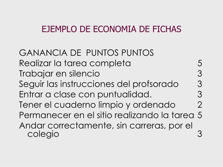 EJEMPLO DE ECONOMIA DE FICHAS