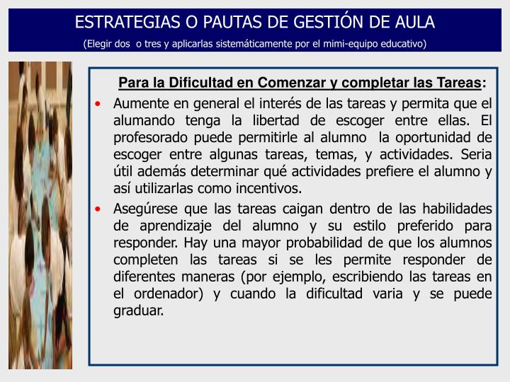 ESTRATEGIAS O PAUTAS DE GESTIÓN DE AULA