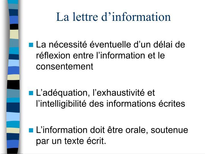 La lettre d'information