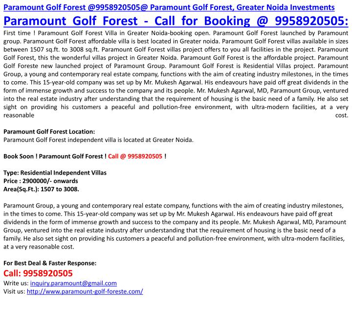 Paramount Golf Forest @9958920505@ Paramount Golf Forest, Greater Noida Investments