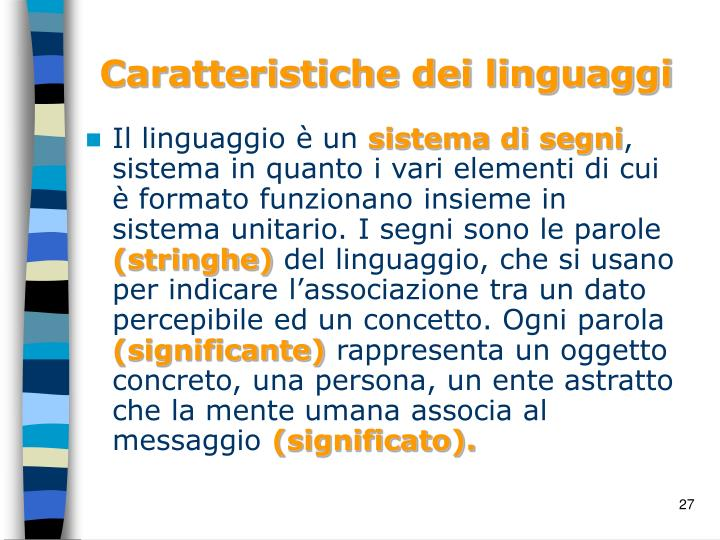 Caratteristiche dei linguaggi