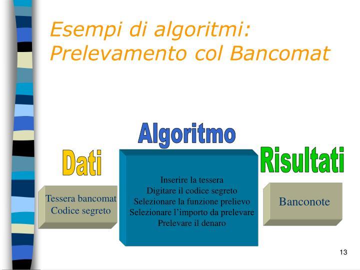 Esempi di algoritmi: