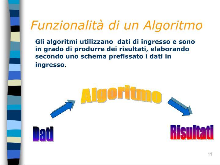 Funzionalità di un Algoritmo