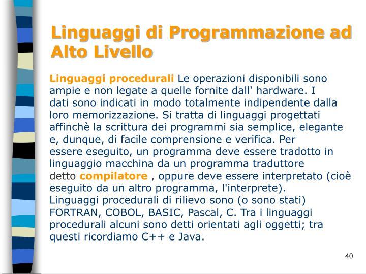 Linguaggi di Programmazione ad Alto Livello