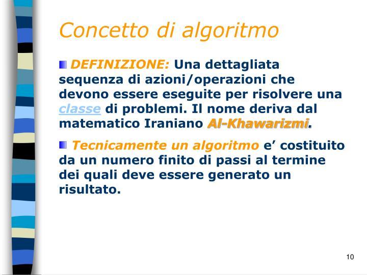 Concetto di algoritmo