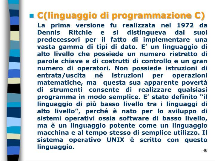 C(linguaggio di programmazione C)