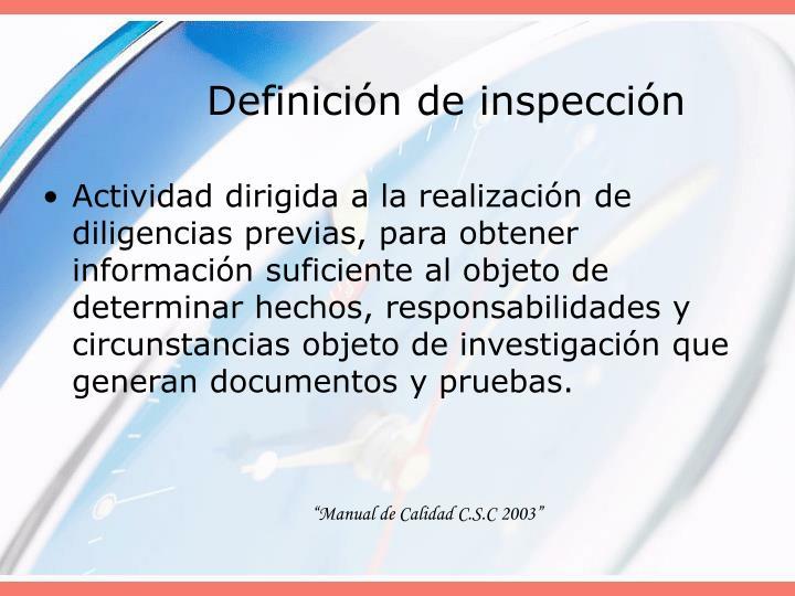Definición de inspección