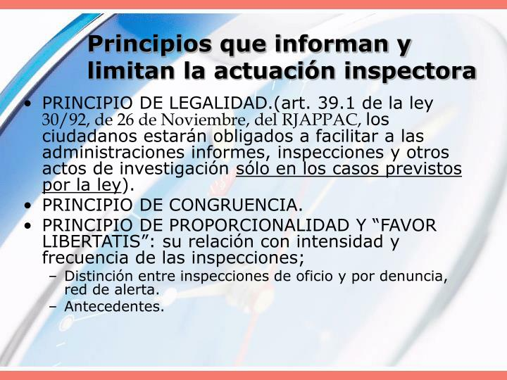 Principios que informan y limitan la actuación inspectora