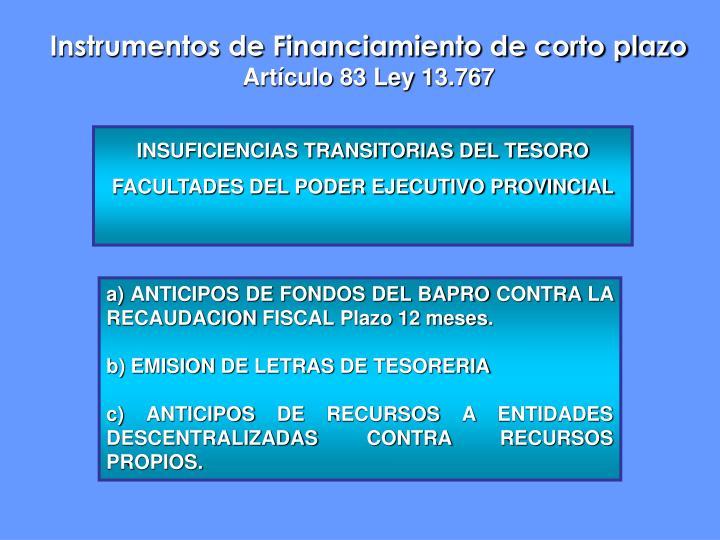 Instrumentos de Financiamiento de corto plazo